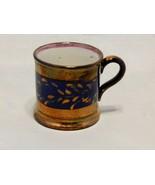 Antique Luster Ware Blue Gold Child's Mug - $19.80