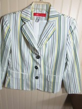 #. ANNE KLEIN LADIES JACKET SIZE 6 MULTI COLOR STRIPE - $15.99