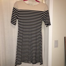 Cream and Black Striped Boat Neck Shift Dress by MONTEAU Los Angeles Size XL
