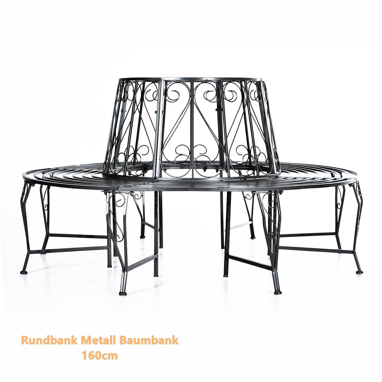 ... Rundbank Metall Baumbank Sitzbank Gartenbank Gartenmobel Parkbank  Silber 160cm ...