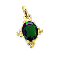 excellent Emerald CZ Gold Plated Green Pendant Natural supplies US gift - $227,15 MXN
