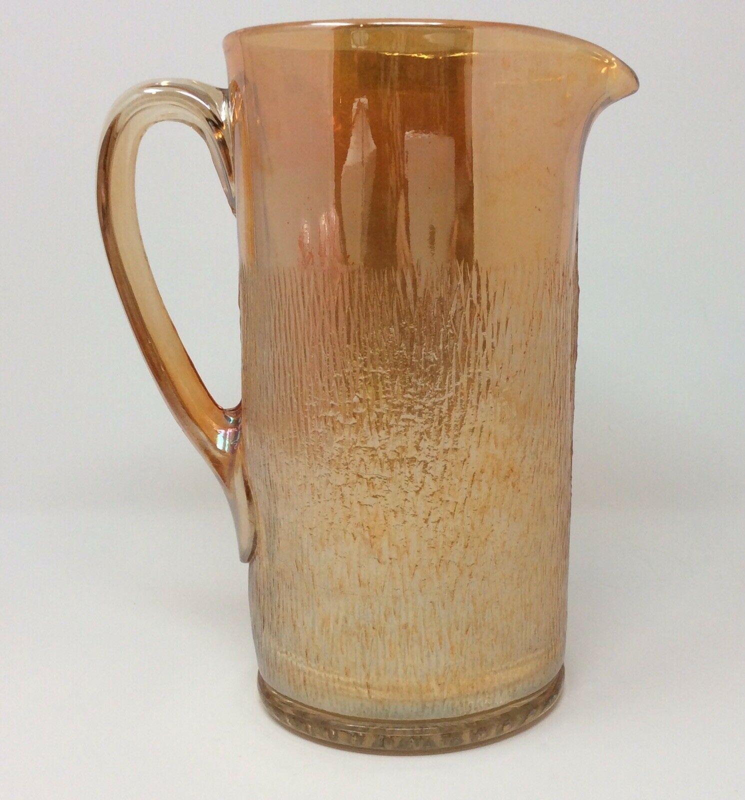 Vintage Carnival Glass Marigold Tree Bark Style Pitcher Mid Century Modern XC