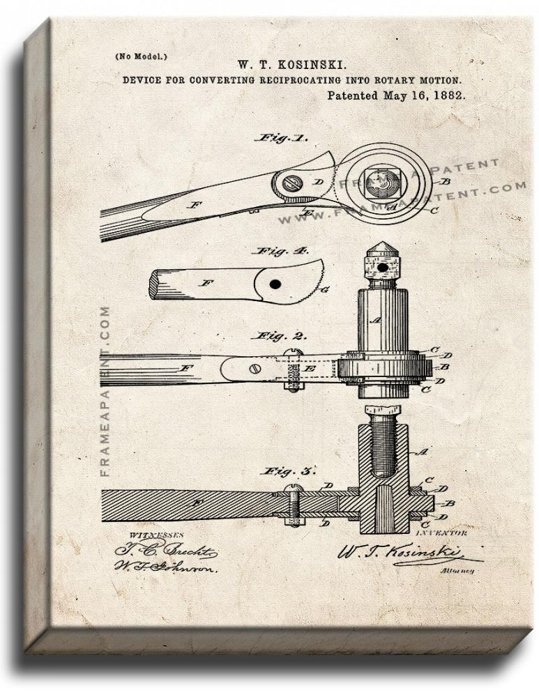 Primary image for Ratchet Patent Print Old Look on Canvas