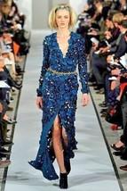 $11K Oscar De La Renta Stunning Green Silk Velvet Cut Out Runway Gown Dress Us 6 - $3,595.00