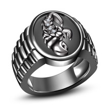 14k Black Gold Plated 925 Silver Round Cut CZ Astrology Scorpio Zodiac Sign Ring - $83.89