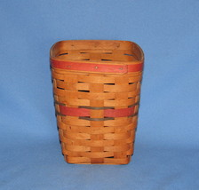 """1990 SIGNED TALL LONGABERGER BASKET w/ RED & GREEN STRIPES 6.5"""" x 8""""  - $25.00"""