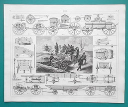 MILITARY Cannon Carriages Wagons French Prussian - 1844 Superb Print - $19.80