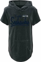 Outerstuff NFL Youth Girls Seattle Seahawks Short Sleeve Velvet Hooded Top Large - $18.01