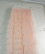 Blush Midi Tulle Skirt Outfit Puffy Tiered Tulle Skirt Blush Pink Holiday Skirt image 7