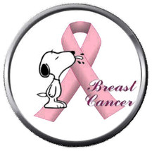 Snoopy Says Fight Cure Breast Cancer Pink Ribbon 18MM-20MM Snap Jewelry ... - $5.95