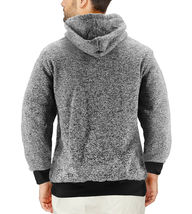 Men's Salt and Pepper Soft Sweater Sherpa Lined Heathered Zip Up Hoodie Jacket image 9
