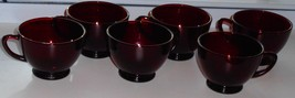 Set of 6 Anchor Hocking Royal Ruby Red Glass Cups - $19.30