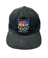 1988 Seoul Olympics NBC Peacock Hat Vintage Corduroy Black Snapback Made... - $52.25