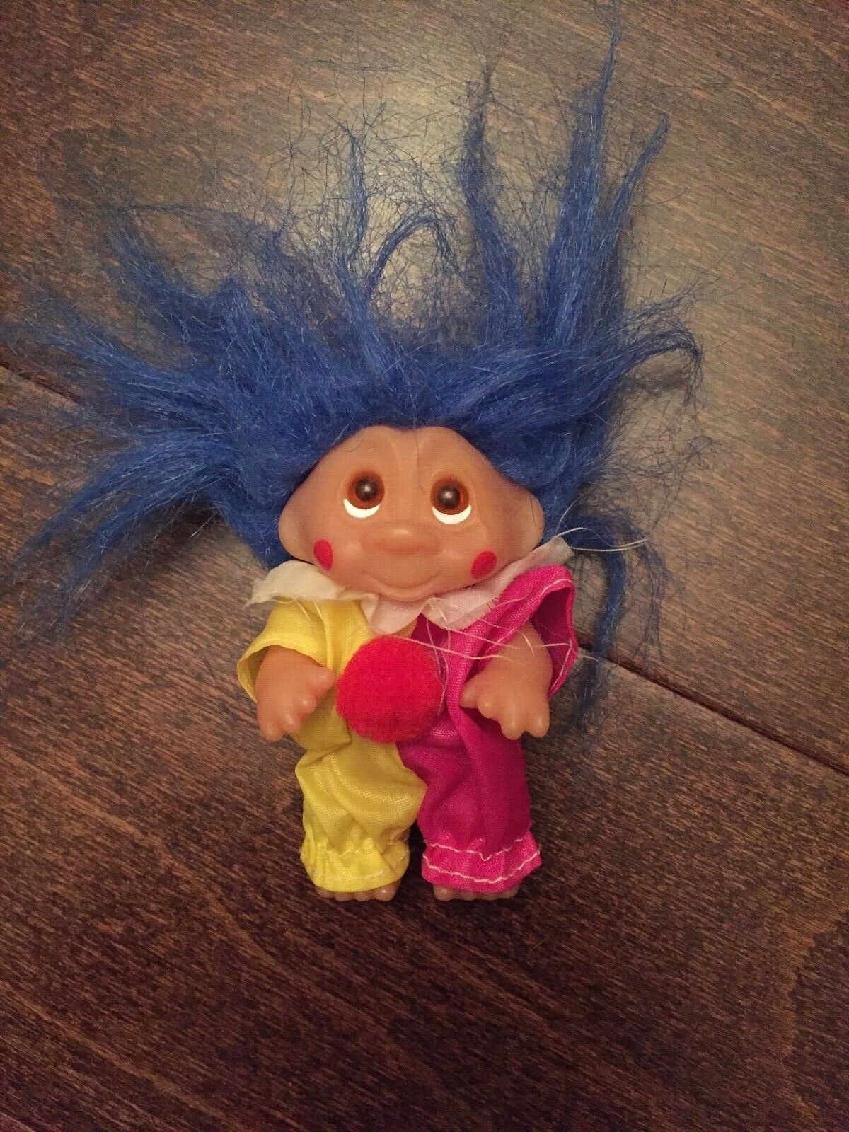 "Primary image for Norfin Troll Doll By Dam! 3"" Blue Hair Amber Upturned Eyes! Dressed As A Clown!"