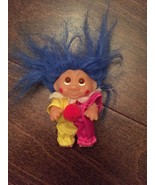 "Norfin Troll Doll By Dam! 3"" Blue Hair Amber Upturned Eyes! Dressed As A... - $35.00"