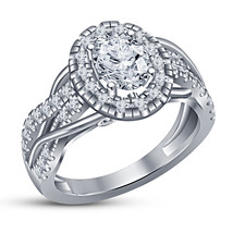 Engagement Ring 14k White Gold Plated 925 Sterling Silver Oval Shape Sim Diamond - $76.99
