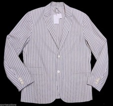 Vince White Thin Black Blue Stripe Sport Coat Casual Dress Jacket $395 Nwt L Lg - $74.76