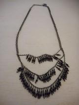 Vintage Estate Costume 3 Strand Black Beaded necklace Trifari - $32.66