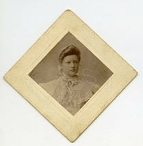 """3"""" Antique 1900s CDV Photo Young Woman In White Blouse Chemise Dress Fas... - $14.24"""