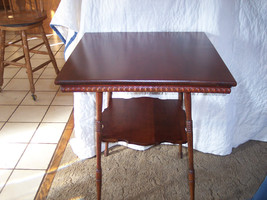 Mahogany Carved 2-Tier Lamp Table / Parlor Table  (T182) - $375.00