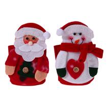 2pcs Snowman Red Wine Bottle Cover Christmas Decoration Knife Fork Bag S... - $16.00