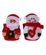 2pcs Snowman Red Wine Bottle Cover Christmas Decoration Knife Fork Bag S... - $16.00