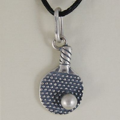 SILVER 925 PENDANT BURNISHED SHAPED TENNIS RACKET PING PONG WITH BALL