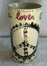 New Natural Life Peace Love Coffee ceramic mug tall Peace Sign 14 oz - $18.18