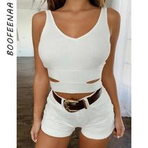 BOOFEENAA V Neck Backless Cut Out Sexy Crop Top Women Streetwear Rave Fe... - $40.85