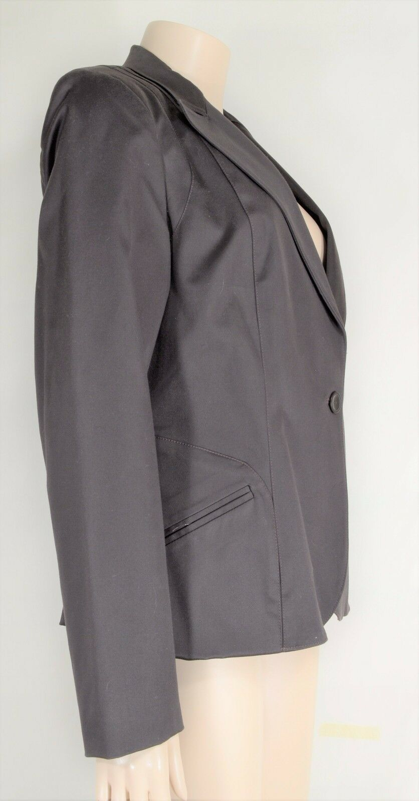 womyn jacket coat NWT SZ 8 dark brown 1-button closure lined NYC USA new image 8
