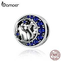 BAMOER Silver S925 Beads Sterling Silver 925 Blue Moon Naughty Cat Pet C... - $24.72