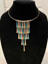 Robert Lee Morris Soho Sculptural Collar Necklace Gold & Blue Green Patina - £58.28 GBP