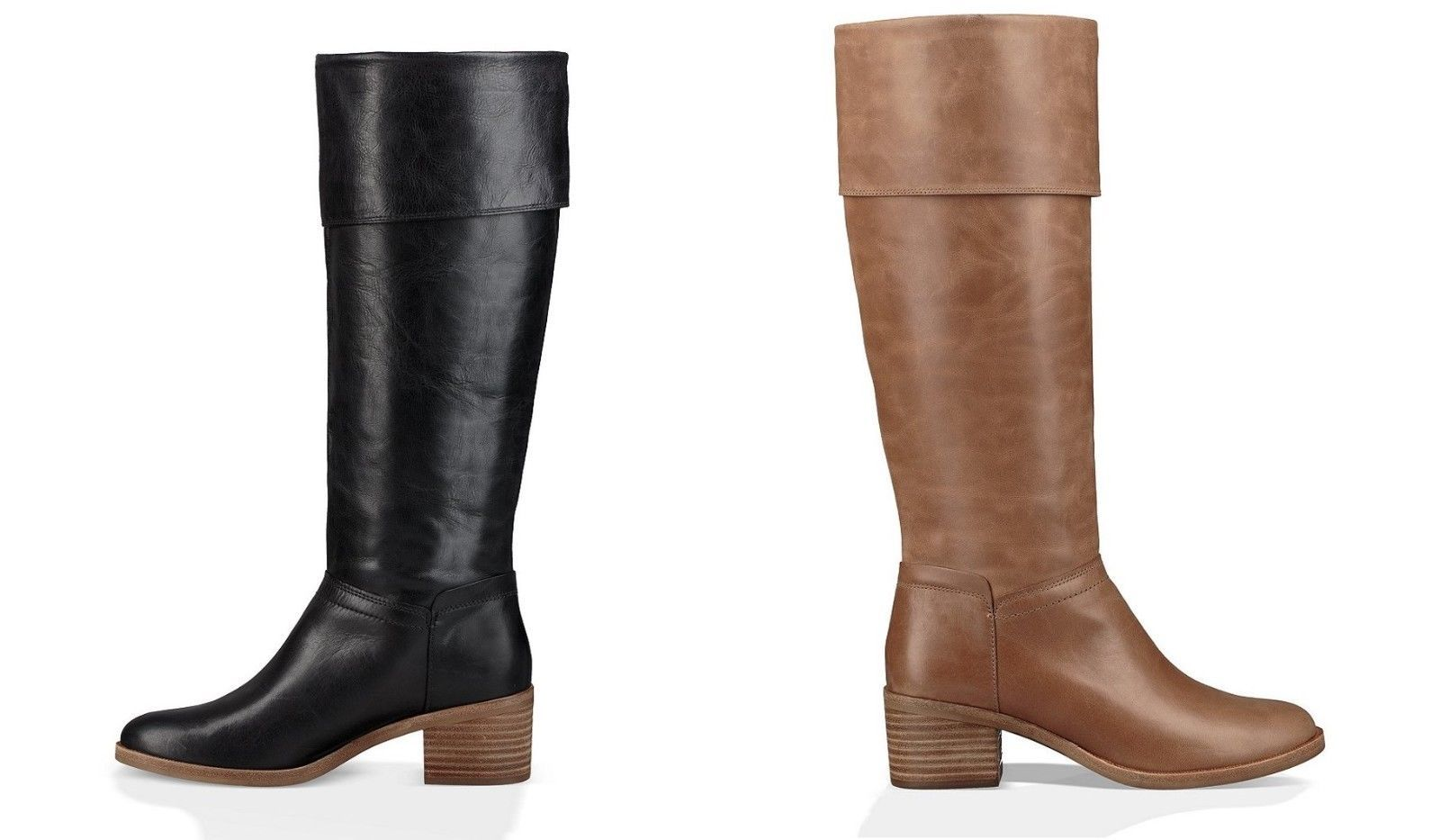 UGG Carlin Block Heel Leather Tall Boots in US Women's Size 8 Taupe/Size 7 Black - $189.00