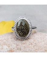 Black Coral Ring, Crystal Ring Solid Sterling Silver Coral Ring Fossil B... - $35.75