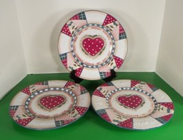 Home Interiors HEARTWARMING HOLIDAY Dinner Plate (s) LOT OF 3 Quilted Holly - $29.49