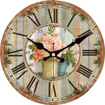 ShuaXin Flower Round Wall Clocks Living Room Decorative Vintage Country ... - $20.02