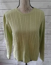 Talbots lime green cable-knit women's sweater crewneck 100% cotton medium  - $21.49