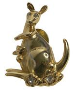 Vintage Avon Goldtone Metal & Clear Rhinestone Kangaroo & Joey Lapel Pin - $5.81