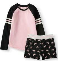 Wonder Nation Girls 2 PC Sleep Set Long Sleeve Shirt & Shorts Large (10-... - $15.43
