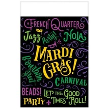 Let The Good Times Roll! 3 Mardi Gras Plastic Tablecover 54 x 84 - $16.19