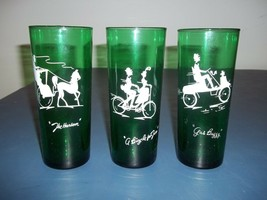 Set Of Three Nice Used Anchor Hocking Forrest Green Gay Nineties Glasses... - $9.89