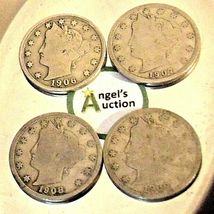 Liberty Head Nickel Five-Cent Pieces 1906 - 1909 AA20-CNN2137 Antique image 3