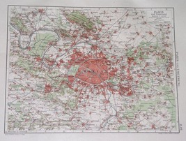 1924 ORIGINAL MAP OF PARIS AND VICINITY / FRANCE - $15.15