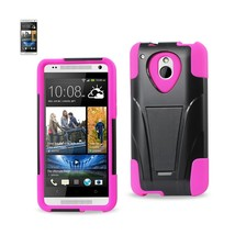 REIKO HTC ONE MINI M4 HYBRID HEAVY DUTY CASE WITH KICKSTAND IN HOT PINK ... - $7.35