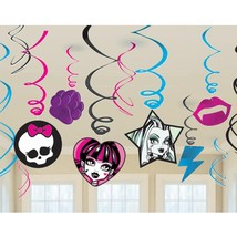 Monster High Hanging Swirls Birthday Party Decorations 12 Piece New - $5.89