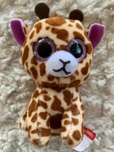 Ty Brown Giraffe Mini Beanie Boo TWIGS Purple Sparkle Eyes Fleece Toy - $4.50