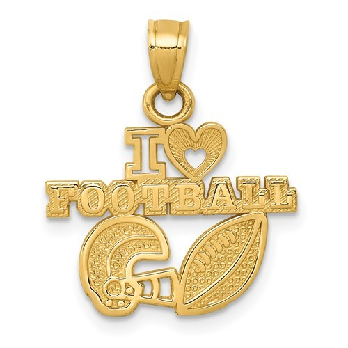 14K Yellow Gold I Heart Football Pendant - $98.99