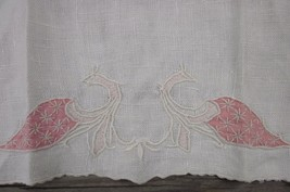HAND EMBROIDERED ABSTRACT CORAL PINK IVORY PEACOCK BIRD LINEN NAPKIN ANT... - $9.49