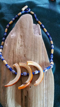 Chevron  Millifiori & Blue Glass White Heart beaded Necklace with Beaver... - $42.56