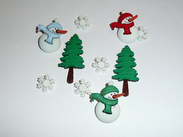 "Snowmen & Snowflake Buttons 3D Realistic Shank Buttons 1-1/4"" & 1/2"" Sno... - $6.64"